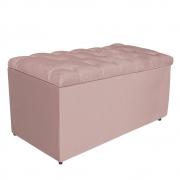 Calçadeira Estofada Liverpool 90 cm Solteiro Suede Rosê - Doce Sonho Móveis