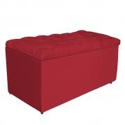 Calçadeira Estofada Liverpool 90 cm Solteiro Suede Vermelho - Doce Sonho Móveis