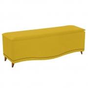 Calçadeira Estofada Yasmim 140 cm Casal Suede Amarelo - Doce Sonho Móveis