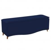 Calçadeira Estofada Yasmim 140 cm Casal Suede Azul Marinho - Doce Sonho Móveis