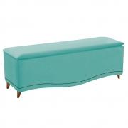 Calçadeira Estofada Yasmim 140 cm Casal Suede Azul Tiffany - Doce Sonho Móveis