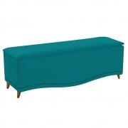 Calçadeira Estofada Yasmim 140 cm Casal Suede Azul Turquesa - Doce Sonho Móveis
