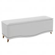Calçadeira Estofada Yasmim 140 cm Casal Suede Branco - Doce Sonho Móveis