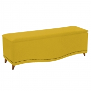 Calçadeira Estofada Yasmim 160 cm Queen Size Suede Amarelo - Doce Sonho Móveis