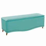 Calçadeira Estofada Yasmim 195 cm King Size Suede Azul Tiffany - Doce Sonho Móveis