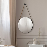 Espelho Redondo Decor Adnet Sunset Preto Fosco com Alça De Couro - Doce Sonho Móveis