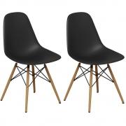 Kit 02 Cadeiras Decorativas Eiffel Charles Eames Preto - Doce Sonho Móveis