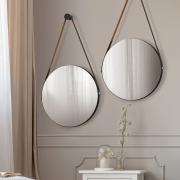 Kit 02 Espelhos Redondo Decorativo Adnet Sunset Preto Fosco - Doce Sonho Móveis