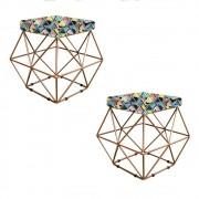 Kit 02 Puffs Estampado Mosaico Color Aramado Elsa - Doce Sonho Móveis