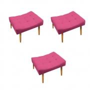 Kit 03 Puff Requinte Palito Mel Corano Pink - Doce Sonho Móveis