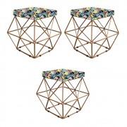 Kit 03 Puffs Estampado Mosaico Color Aramado Elsa - Doce Sonho Móveis