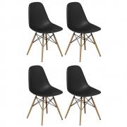 Kit 04 Cadeiras Decorativas Eiffel Charles Eames Preto - Doce Sonho Móveis