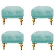 Kit 04 Puffs Decorativos Dani Suede Azul Tiffany - Doce Sonho Móveis
