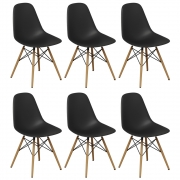 Kit 06 Cadeiras Decorativas Eiffel Charles Eames Preto - Doce Sonho Móveis