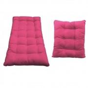 Kit Almofadas para Poltrona e Puff Costela Corano Pink - Doce Sonho Móveis