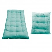 Kit Almofadas para Poltrona e Puff Costela Suede Azul Tiffany - Doce Sonho Móveis