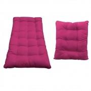 Kit Almofadas para Poltrona e Puff Costela Suede Pink - Doce Sonho Móveis