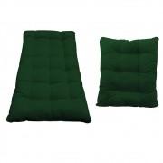 Kit Almofadas para Poltrona e Puff Costela Suede Verde - Doce Sonho Móveis