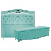 Kit Cabeceira e Calçadeira Yasmim 140 cm Casal Suede Azul Tiffany - Doce Sonho Móveis