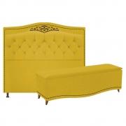 Kit Cabeceira e Calçadeira Yasmim 160 cm Queen Size Suede Amarelo - Doce Sonho Móveis