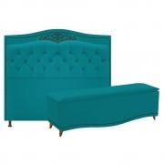 Kit Cabeceira e Calçadeira Yasmim 160 cm Queen Size Suede Azul Turquesa - Doce Sonho Móveis