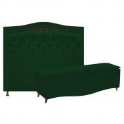 Kit Cabeceira e Calçadeira Yasmim 90 cm Solteiro Suede Verde - Doce Sonho Móveis