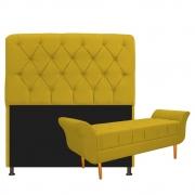 Kit Cabeceira Lady e Recamier Ari 140 cm Casal Suede Amarelo - Doce Sonho Móveis
