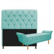 Kit Cabeceira Lady e Recamier Ari 140 cm Casal Suede Azul Tiffany - Doce Sonho Móveis