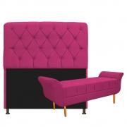 Kit Cabeceira Lady e Recamier Ari 160 cm Queen Size Suede Pink - Doce Sonho Móveis