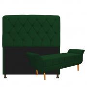 Kit Cabeceira Lady e Recamier Ari 160 cm Queen Size Suede Verde - Doce Sonho Móveis