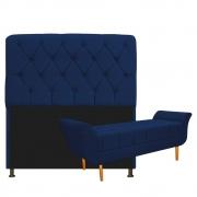 Kit Cabeceira Lady e Recamier Ari 195 cm King Size Suede Azul Marinho - Doce Sonho Móveis