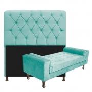 Kit Cabeceira Lady e Recamier Félix 140 cm Casal Suede Azul Tiffany - Doce Sonho Móveis