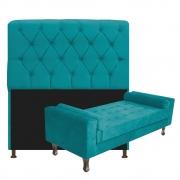 Kit Cabeceira Lady e Recamier Félix 160 cm Queen Size Suede Azul Turquesa - Doce Sonho Móveis