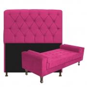 Kit Cabeceira Lady e Recamier Félix 195 cm King Size Suede Pink - Doce Sonho Móveis