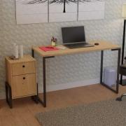 Kit Mesa Para Escritório Industrial Adelle 90cm com Gaveteiro 02 Gavetas Veneza Nature Fosco - Doce Sonho Móveis