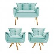 Kit Namoradeira e 02 Poltronas Opala Base Giratória de Madeira Suede Azul Tiffany - Doce Sonho Móveis