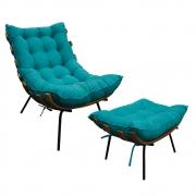 Kit Poltrona e Puff Costela Base Fixa Suede Azul Turquesa - Doce Sonho Móveis