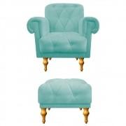 kit Poltrona e Puff Decorativos Dani Suede Azul Tiffany - Doce Sonho Móveis