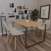Mesa de Jantar Veneza Industrial Nature com 04 Cadeiras Eiffel Charles Eames Branco - Doce Sonho Móveis