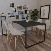 Mesa de Jantar Veneza Industrial Preto F01 com 04 Cadeiras Eiffel Charles Eames Branco - Doce Sonho Móveis