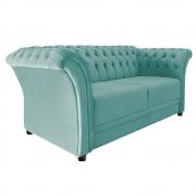 Namoradeira Chesterfield Sofia Suede Azul Tiffany - Doce Sonho Móveis