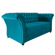 Namoradeira Chesterfield Sofia Suede Azul Turquesa - Doce Sonho Móveis