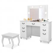 Penteadeira Camarim c/ Espelho Louise com Banqueta Eloá Retrô Branco - Doce Sonho Móveis