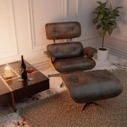 Poltrona Charles Eames com Puff Couro Ecológico Marrom - Doce Sonho Móveis