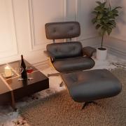 Poltrona Charles Eames com Puff Couro Ecológico Preto - Doce Sonho Móveis