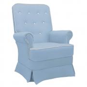 Poltrona de Amamentação Lara com Balanço Corano Azul Bebê com Botão Branco - Doce Sonho Móveis