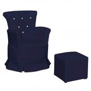 Poltrona de Amamentação Maya com Balanço e Puff Corano Azul Marinho com Botão Branco - Doce Sonho Móveis