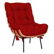Poltrona Decorativa Costela Base Fixa Corano Vermelho - Doce Sonho Móveis