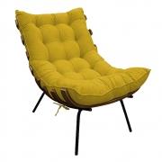 Poltrona Decorativa Costela Base Fixa Suede Amarelo - Doce Sonho Móveis