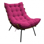 Poltrona Decorativa Costela Base Fixa Suede Pink - Doce Sonho Móveis